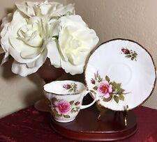 Vintage Royal Heritage Bone China Tea Cup & Saucer Roses Gold Trim England MINT