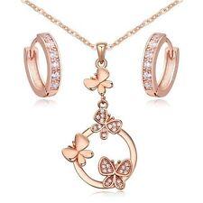 18K Rose Gold GP White Swarovski Crystals Butterflies Set Necklace Hoop Earrings