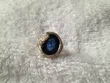 """ONE OF A KIND"" OVAL CUT ROYAL BLUE SAPPHIRE QUARTZ RING SIZE 8 IN SS925"