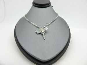 "Tiffany & Co. Platinum Pave Diamond Dragonfly 0.28tcw Diamond Pendant 16"""