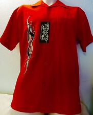 NEW DRAGONFLY SHIRT FURIOUS Red Small Embroidered Flame Faux Pocket