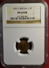 1902 Great Britain 1/3 Farthing, NGC MS64 RB, Nice Bronze Coin, Edward VII