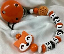 🦊  Personalised *FOX* Dummy Clip Strap Chain 🦊   MAX 7 LETTERS 🦊  ORANGE 🦊