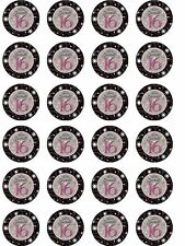 24 X 16TH BIRTHDAY NOVELTY WAFER/RICE PAPER CAKE TOPPERS