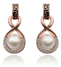 Luxury Vintage Bridal Gold and White Pearl Drop Earrings Studs E624