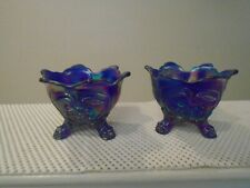 RARE CARNIVAL IMPERIAL GLASS EVERGLADE AURORA JEWELS COBALT BLUE CANDLE HOLDERS