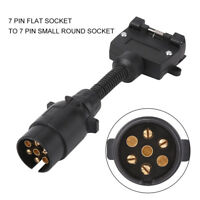 7 PIN Trailer Plug Adaptor Round Male to Flat Female Fit Caravan Boat Towbar SG
