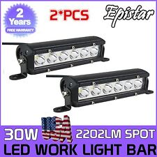 Slim 2X 7Inch 30W  Led Driving Work Light Bar Spot Offroad 4WD Suv Truck Epistar