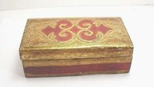 Vintage Red And Gold Wood Trinket Box