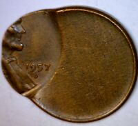1957d ERROR Off Center Lincoln Cent CH BU Coin ~ NICE EARLY WHEAT O/C LOT #2  NR