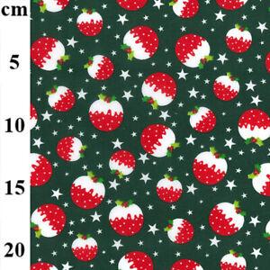 Christmas, Poly Cotton, Green Christmas Pudding Dress, Craft Fabric TCP904