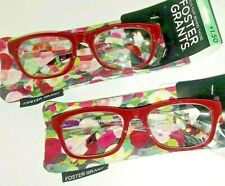 2 Pair +1.50 Womens Foster Grant Elisa Red & Floral Reading Glasses Spring Hinge
