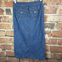 Old Navy Womens Denim Skirt Size 10 Slit Long Jean Flap Pockets