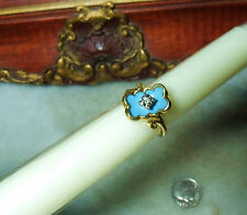 Art Deco Vintage 18K Gold Heavy Diamond  Blue Enamel Ring Fits Size 4.5 and 4