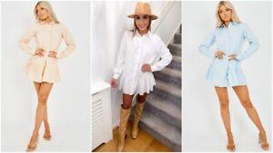 Womens Ladies Ruffle Frill Hem Pleated Collared Buttons Longline Shirt Dress Top