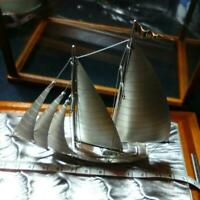 Sterling Silver Yacht ship with Case by TAKEHIKO SEKI Japan 1980's Vintage USED