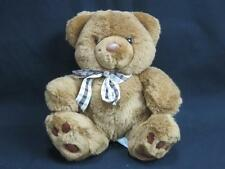 BAREFOOT MENAGERIE PLUSH BROWN TEDDY BEAR BROWN PLAID BOW PLASTIC EYES STUFF TOY
