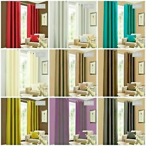 Luxury Fully Lined Ready Made Eyelet Faux Silk Curtains Ring Top with Tie Backs