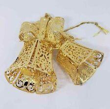 Danbury Mint Annual Gold Christmas Ornament Holiday Bells 2002 23kt Gold Box Coa