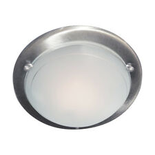 Searchlight 12in Silver Modern Metal Glass Flush Fitting Ceiling Recessed Light