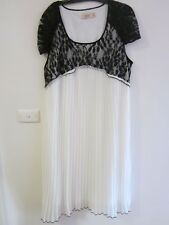 BEAUTIFUL LONG DRESS ,SIZE 18 BY EPLISSE, WHITE PLEATED DRESS AND BLACK LACE TOP