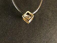 Anhänger 24 Karat Vergoldet Cube Strass Damen Deluxe Lederkette Valentinstag
