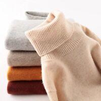 Women's 100% Merino Wool Sweater Turtleneck Long Sleeved Warm Soft Pullover Tops