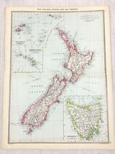 1909 Antique Map of New Zealand Tasmania North South Island George Philip