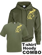 CARP FISHING CLOTHING, HOODY / T-SHIRT COMBO. (MIRROR CARP IN OLIVE GREEN).