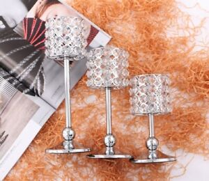3pcs set Silver Acrylic Crystal Beads Bling Tealight Candle Holder Wedding Decor