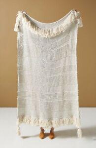 Anthropologie Throw Blanket Woven MarleyTassels Fringe Textured Stripes Cozy NWT