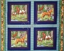 5 Yard Cotton Fabric SALE Horses Stallions Colts Mares Panels Pillows Quilt Tops