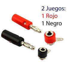 2 Juegos Conectores Banana 2 Conector Macho y 2 Hembra 4mm Rojo y Negro
