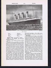 The Titanic - Vintage Print & Encyclopedia Article on 1912 Sinking