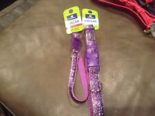 top paw adjustable pet collar purple sparkle glitter sz xs  8-12 in or sm 10-14