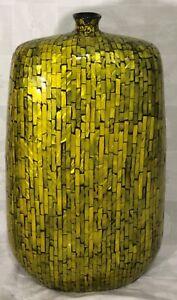 "Vase Ceramic Inlay Large Green Black 21"" 53cm Three Hands Corp"