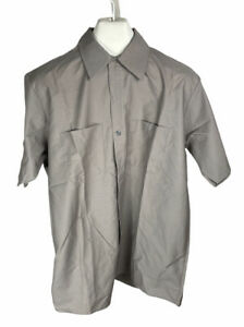 New Vintage Red Kap Gray Size L Large Short Sleeve Button Up Free US Shipping