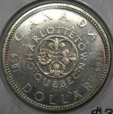 CANADA 1964  $1 SILVER DOLLAR 100TH ANNIVERSARY OF CHARLOTTETOWN COIN #DBW