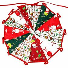 G2plus 3.7m Merry Christmas Banner Fabric Flag Bunting Double Sided Vintage CL