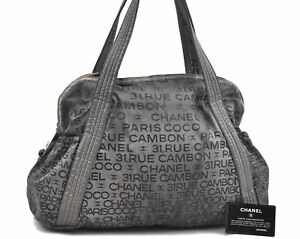 Authentic CHANEL Unlimited Polyester Shoulder Tote Bag Gray CC E0574