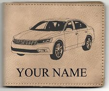 Volkswagen Passat Leather Billfold With Drawing & Your Name On It-Nice Quality