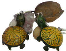A Pair Set of Genuine Leather Key-chain/bag-charm, Cute Turtle Shape,Green