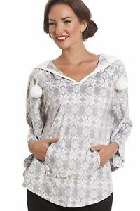 Camille Womens Nightwear Snowflake Aztec Grey Hooded Fleece Poncho Pyjama Top