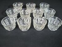 Vintage Press Cut Glass Punch Bowl Cups Star Pattern (11)