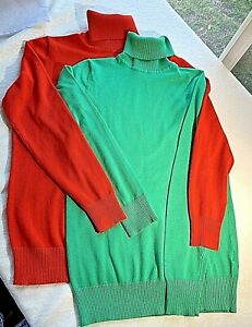 Lot 2 Joseph A Womens Turtleneck Sweater Sz Sm Red/Green Rayon silk Feel B805
