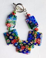 Beautiful Millefiori Glass Squares & Oblong Bracelet