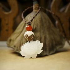 Hand Carved Lotus Bodhi Necklace/Pendant in Velvet Pouch/FREE P&P/UK STOCK