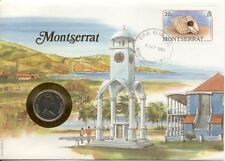 superbe enveloppe MONTSERRAT pièce monnaie 25 CTS 1989 UNC NEW timbre