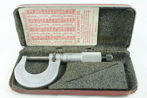 "Starrett No. 230 Outside Micrometer, 0 to 1"", Carbide Tips, Hard Case"