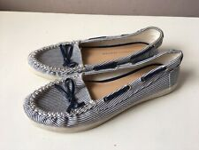 DOROTHY PERKINS ladies blue stripes flat loafers shoes size 3